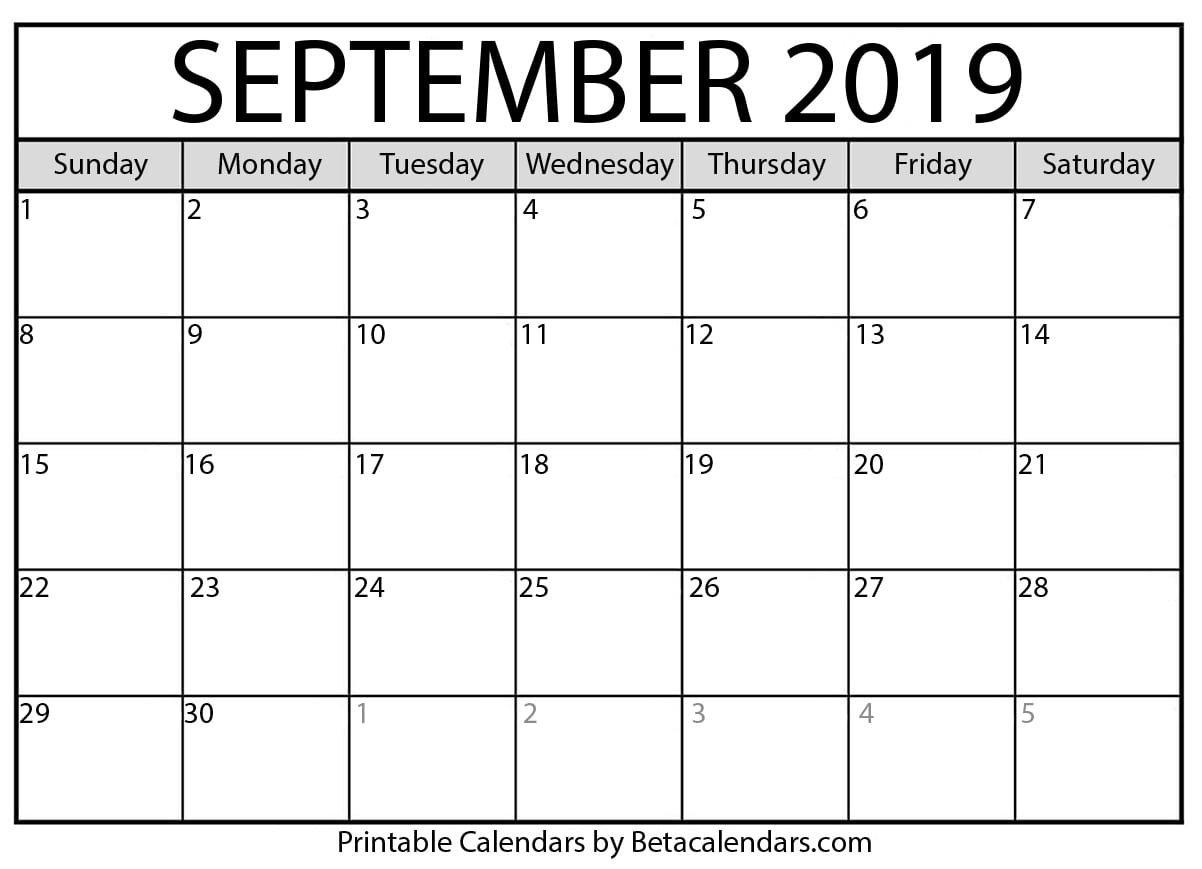 Blank September 2019 Calendar Printable – Beta Calendars 6 Nations 2019 Calendar Download