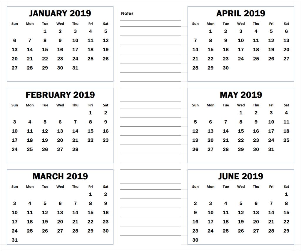 Blank Six Month 2019 Printable Calendar | 2019 Calendars | Blank Calendar 2019 6 Months