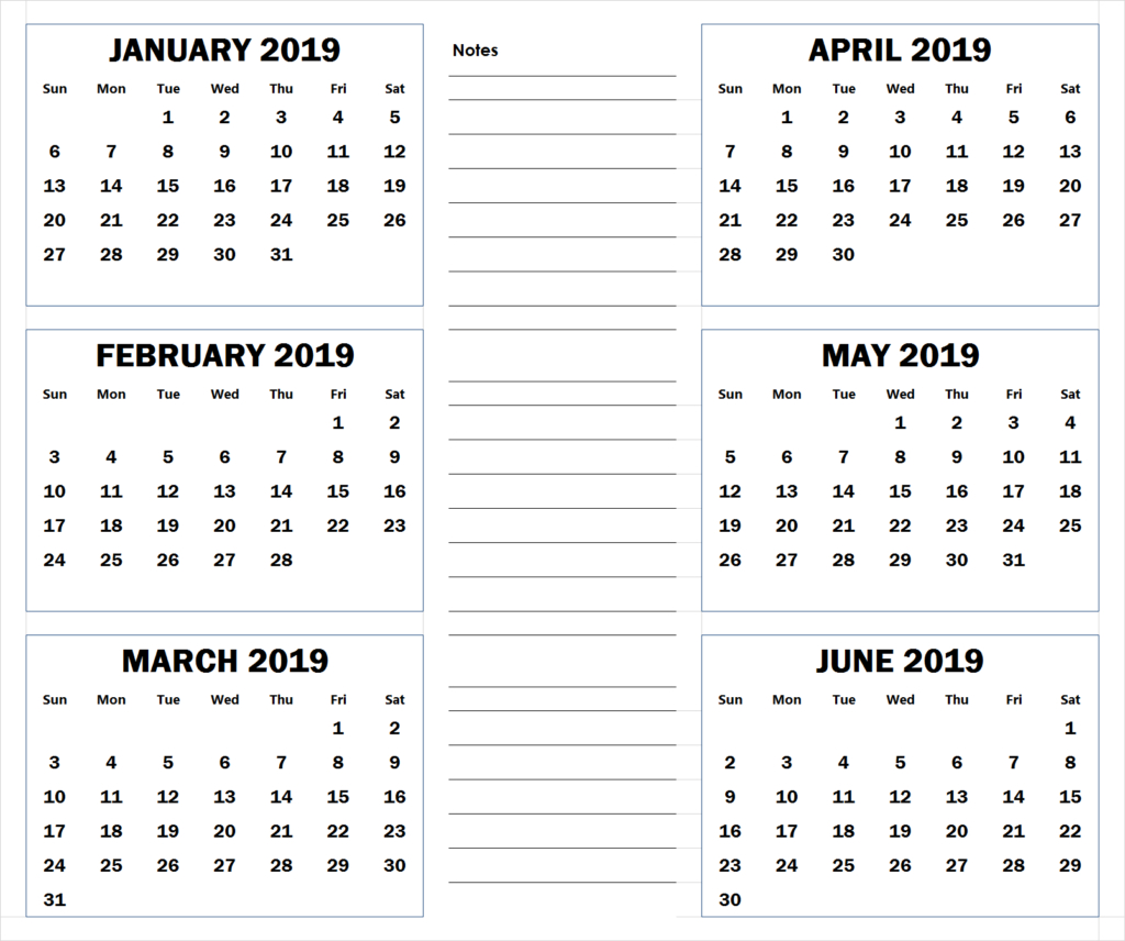 Blank Six Month 2019 Printable Calendar | 2019 Calendars | Blank Printable Calendar 2019 6 Months