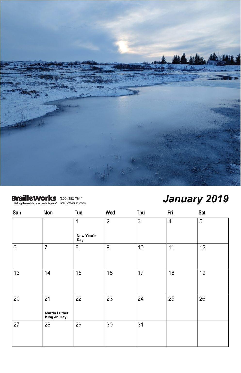 Braille Calendars – Attractive And Accessible – Braille Works U Michigan Calendar 2019