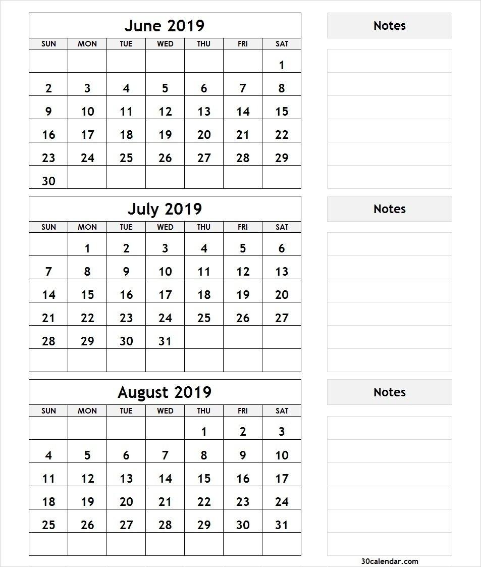 Bravo June July August 3 Month Calendar 2019 Printable * Calendar 3 Month Calendar 2019