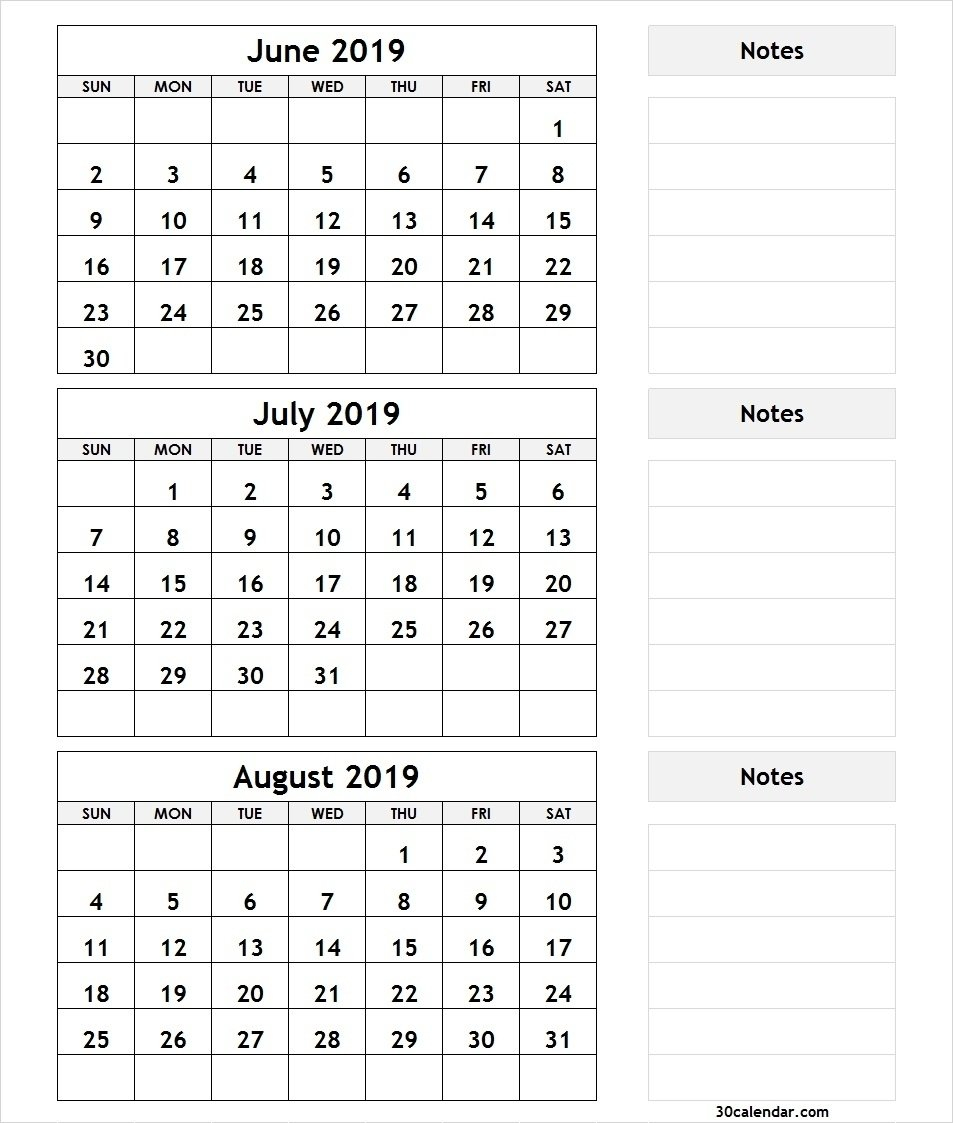Bravo June July August 3 Month Calendar 2019 Printable * Calendar August 3 2019 Calendar