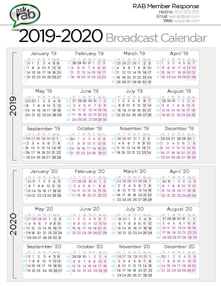 Broadcast Calendars | Rab Unit 4 Calendar 2019