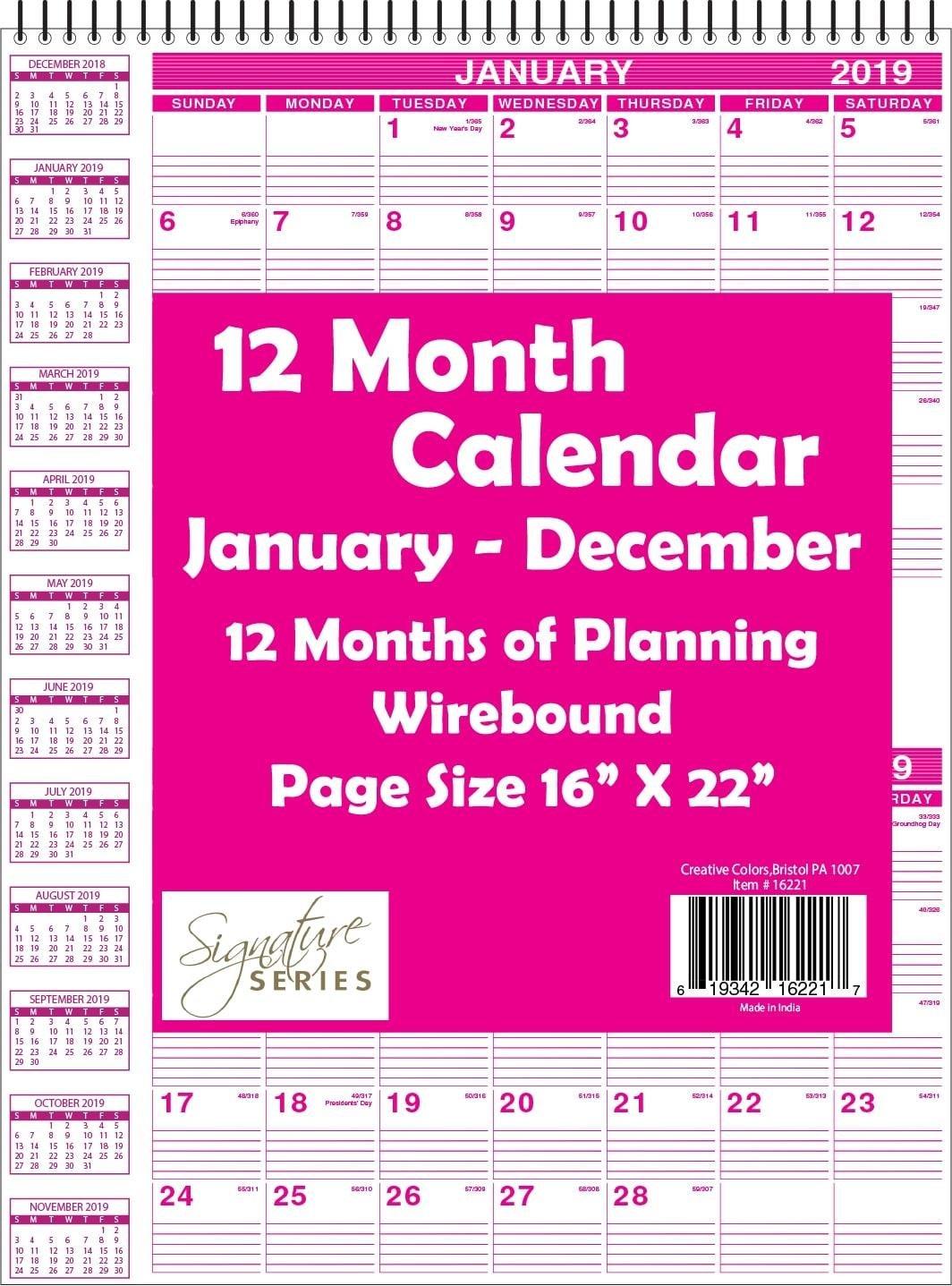 "Bulk Carton 16"" X 22"" Top Wired Wall Calendar 2019  Minimum Order 1 Calendar 2019 Bulk"