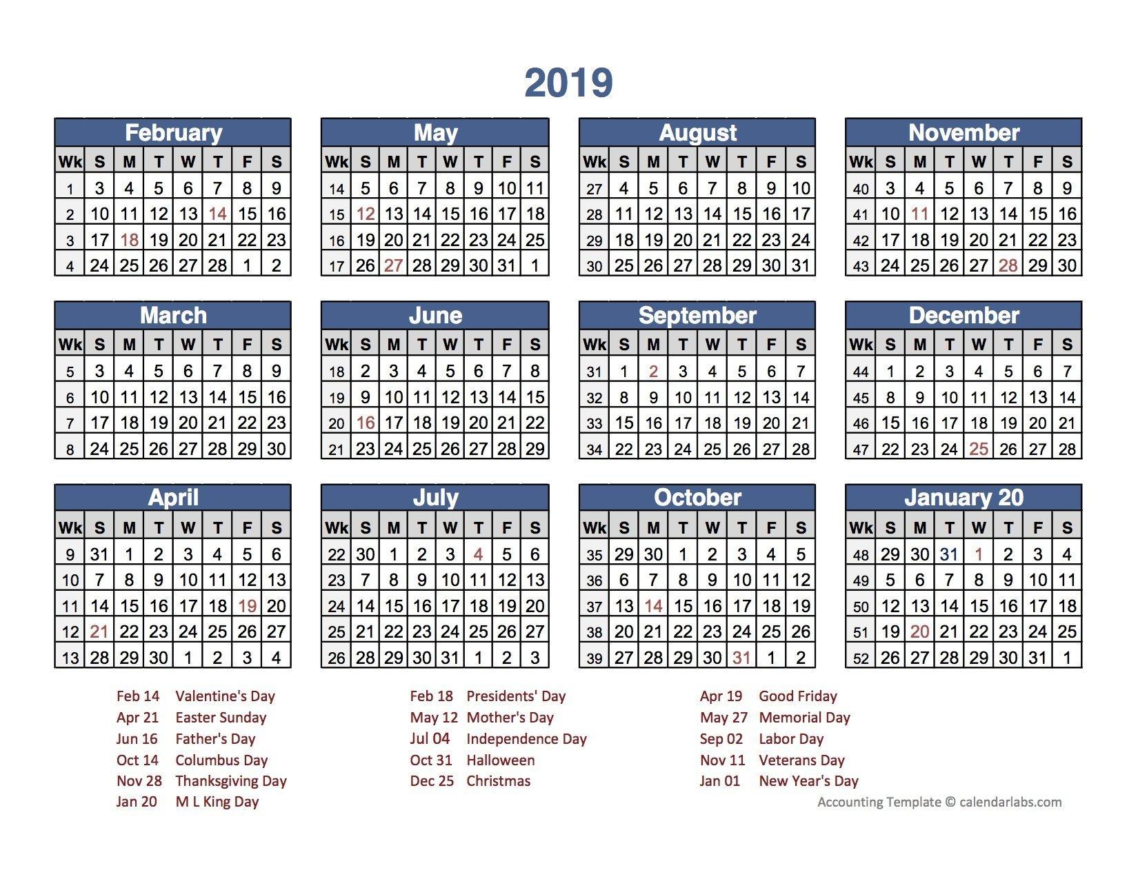 Business Calendars 2019 To Download Or Print | Americanwomanmag 2019 Calendar 4 4 5