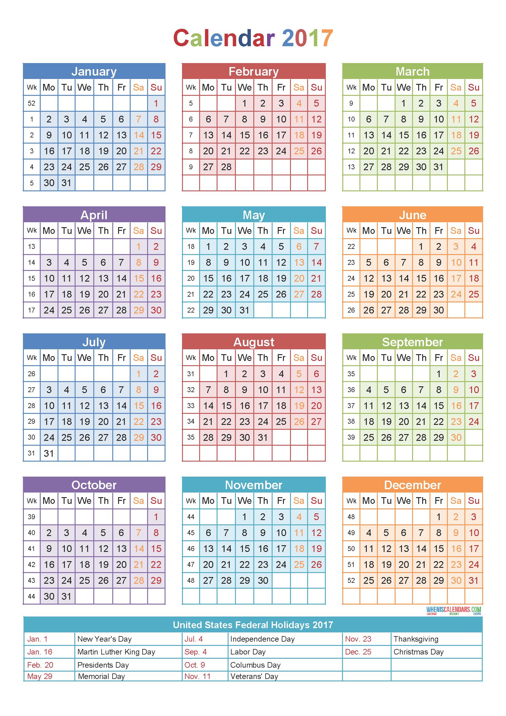 Calendar 2017Week Number   Holidays   Yearly Calendar Template Calendar Week 43 2019