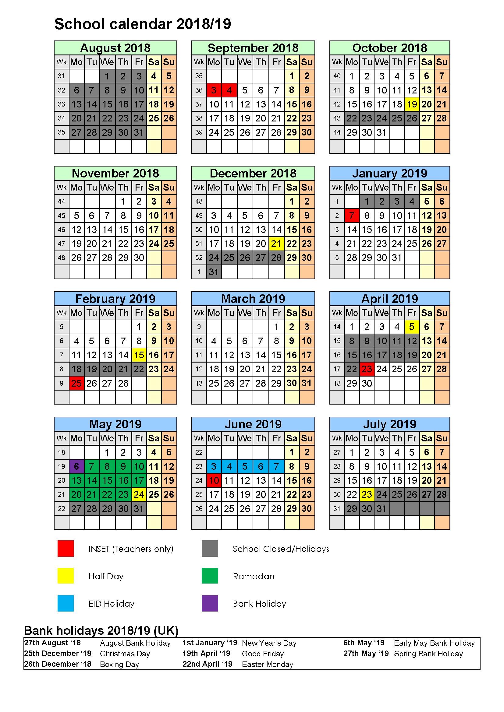 Calendar 2018 2019  Al Mizan Primary School D&d Calendar 2019