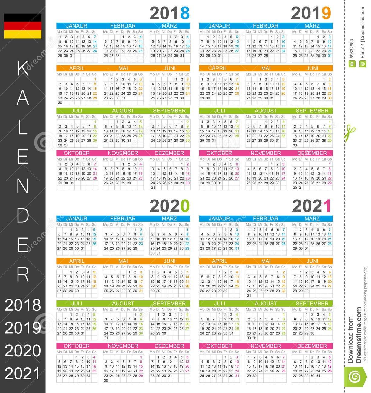Calendar 2018 2021 Stock Illustration. Illustration Of Personal Calendar 2019 Germany Week Numbers