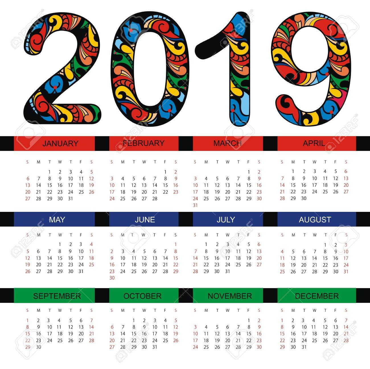 Calendar 2019. Business Template Royalty Free Cliparts, Vectors, And Calendar 2019 For Business