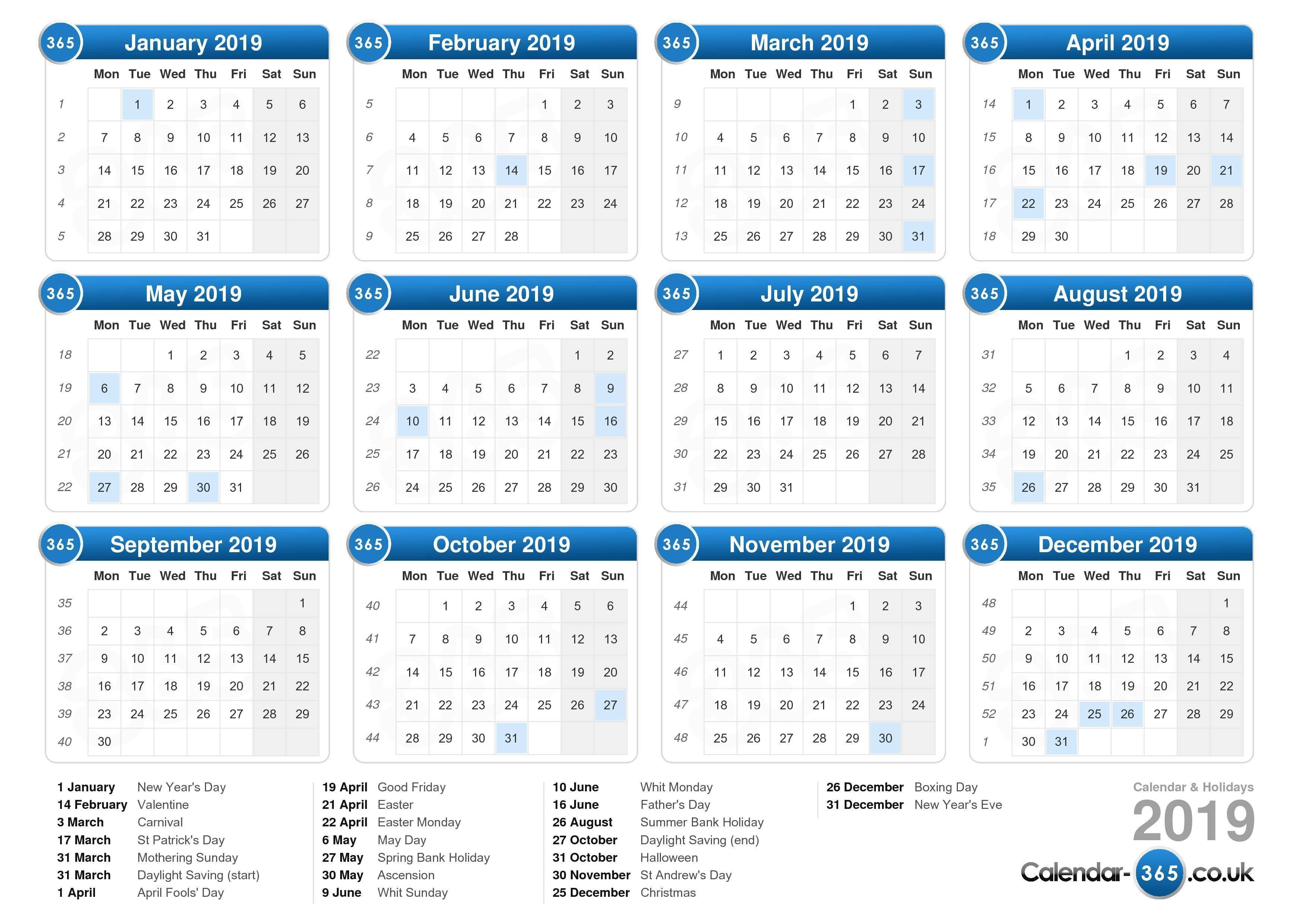 Calendar 2019 Calendar 2019 England