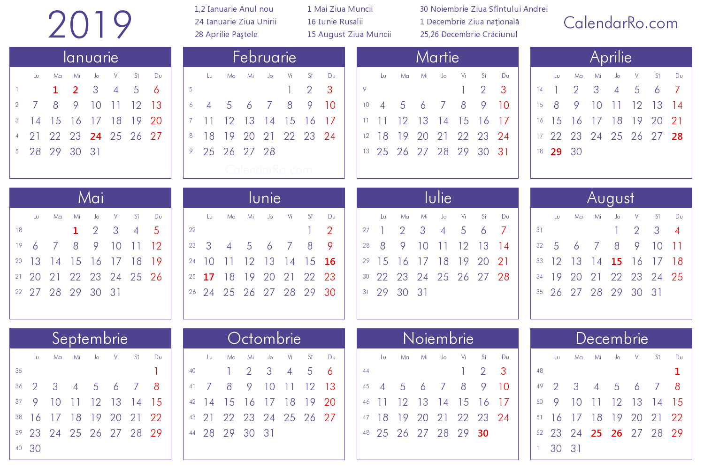 Calendar 2019 Calendar 2019 Roman