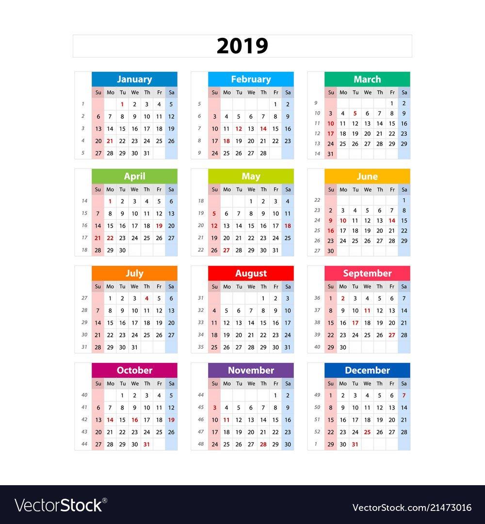 Calendar, 2019 & Calendar2019 Vector Images (15) Calendar 2019 For Business