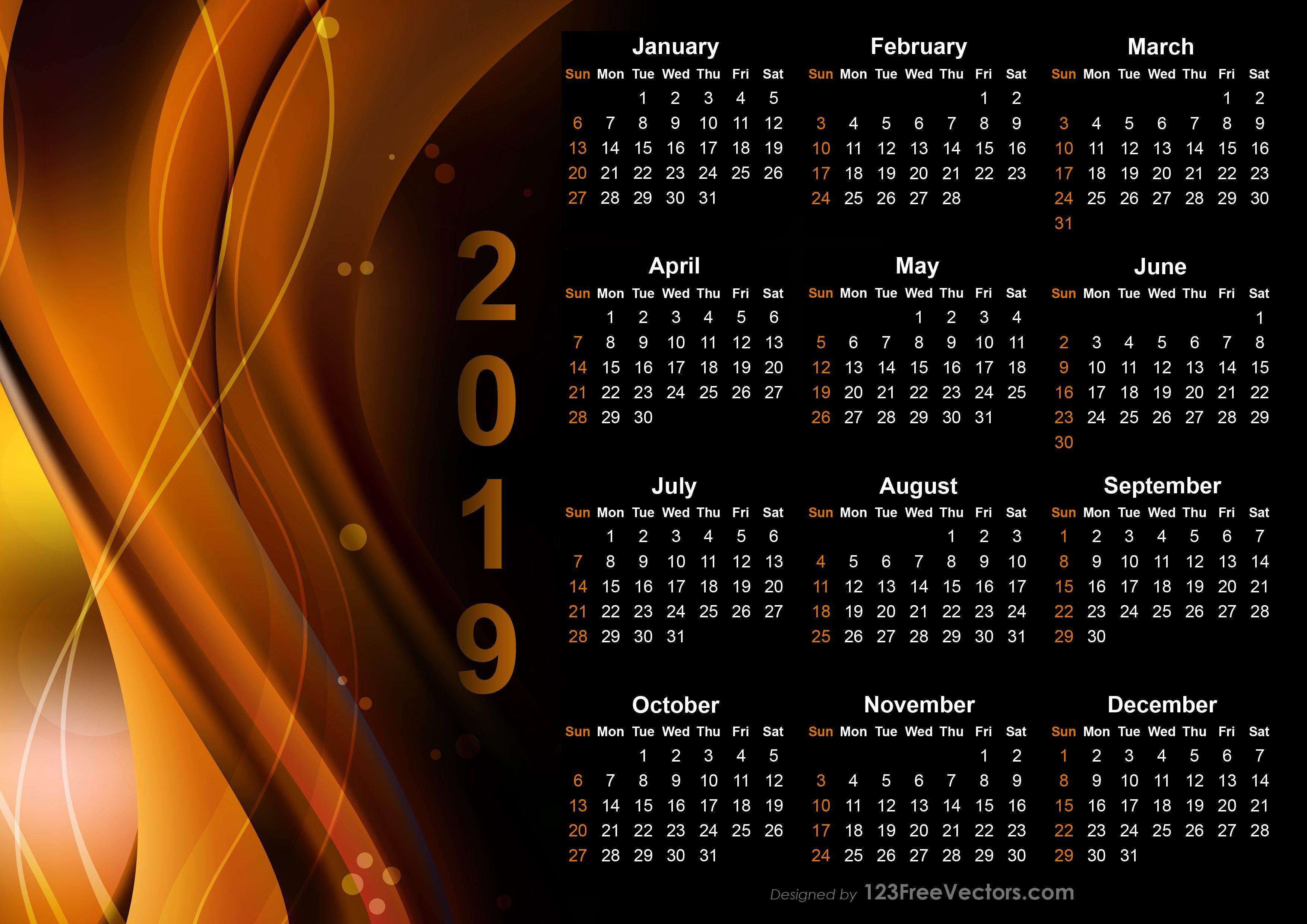 Calendar 2019 Design Templates Free Download Calendar 2019 Template Psd