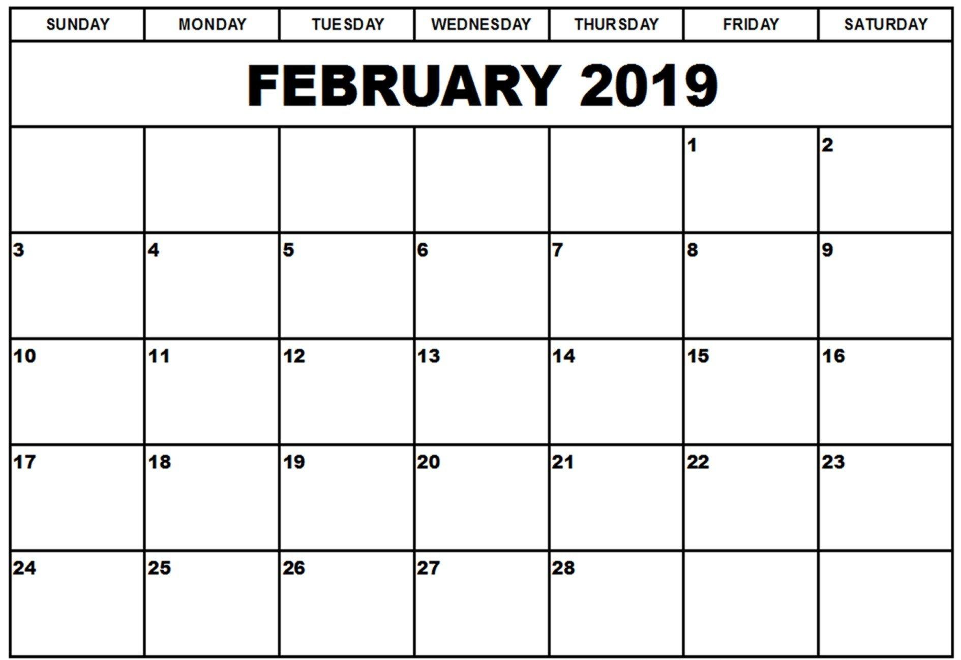Calendar 2019 February Month – Printable Calendar Templates Calendar Of 2019 February