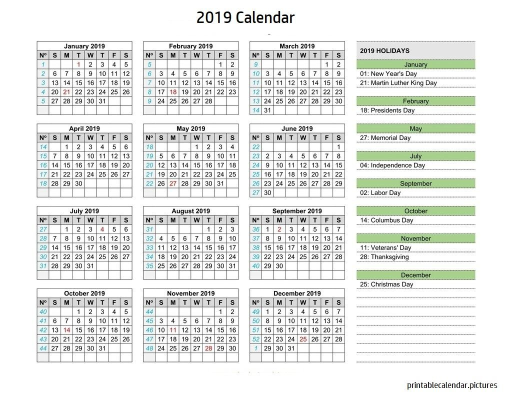 Calendar 2019 Holidays | 2019 Calendar Holidays | Calendar 2019 Calendar 2019 With Holidays Usa Printable