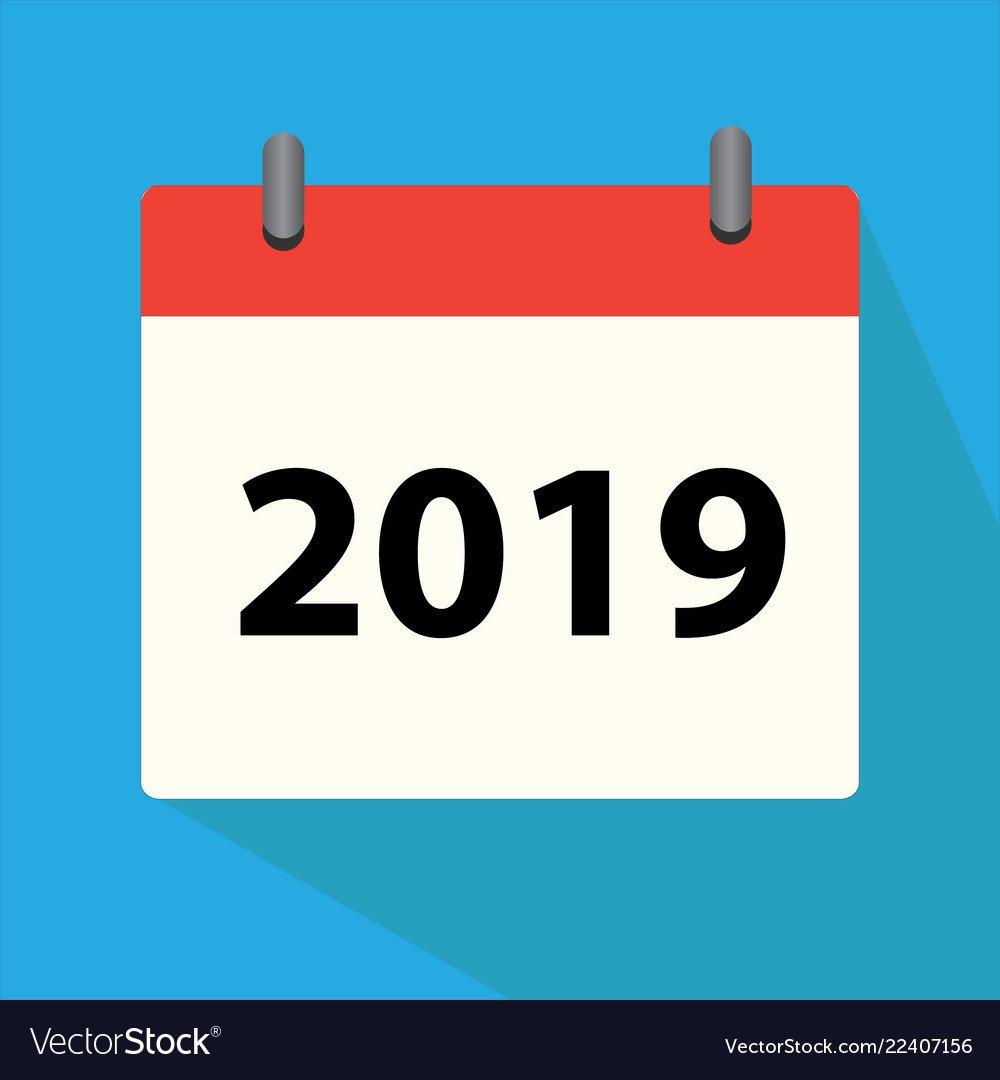 Calendar 2019 Icon On White Background Calendar Vector Image Calendar 2019 Logo