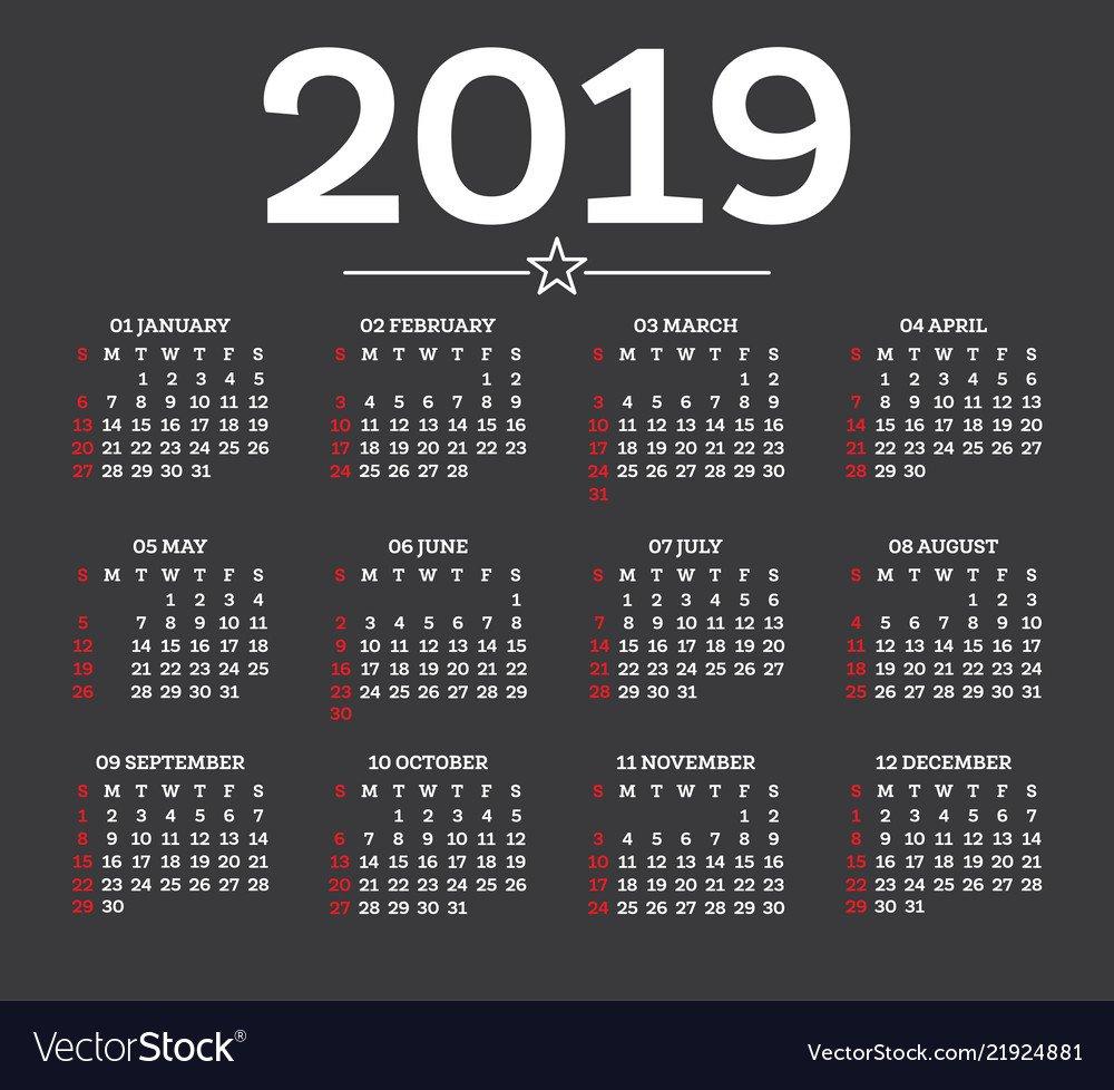 Calendar 2019 Isolated On Dark Background Week Vector Image Calendar 2019 Background