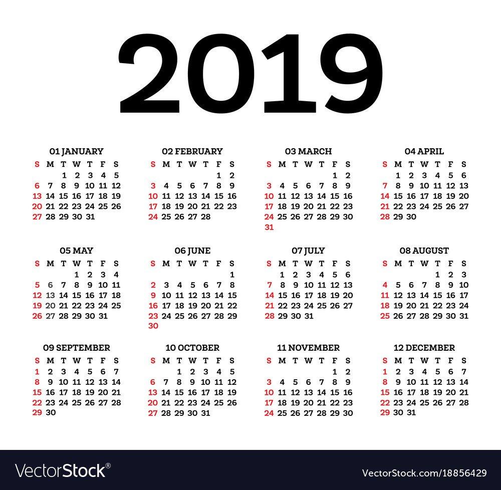 Calendar 2019 Isolated On White Background Week Calendar 2019 Vector Image