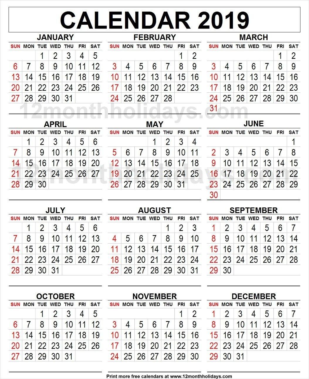 Calendar 2019 Large | 2019 Yearly Calendar | Printable Blank Calendar 2019 Large