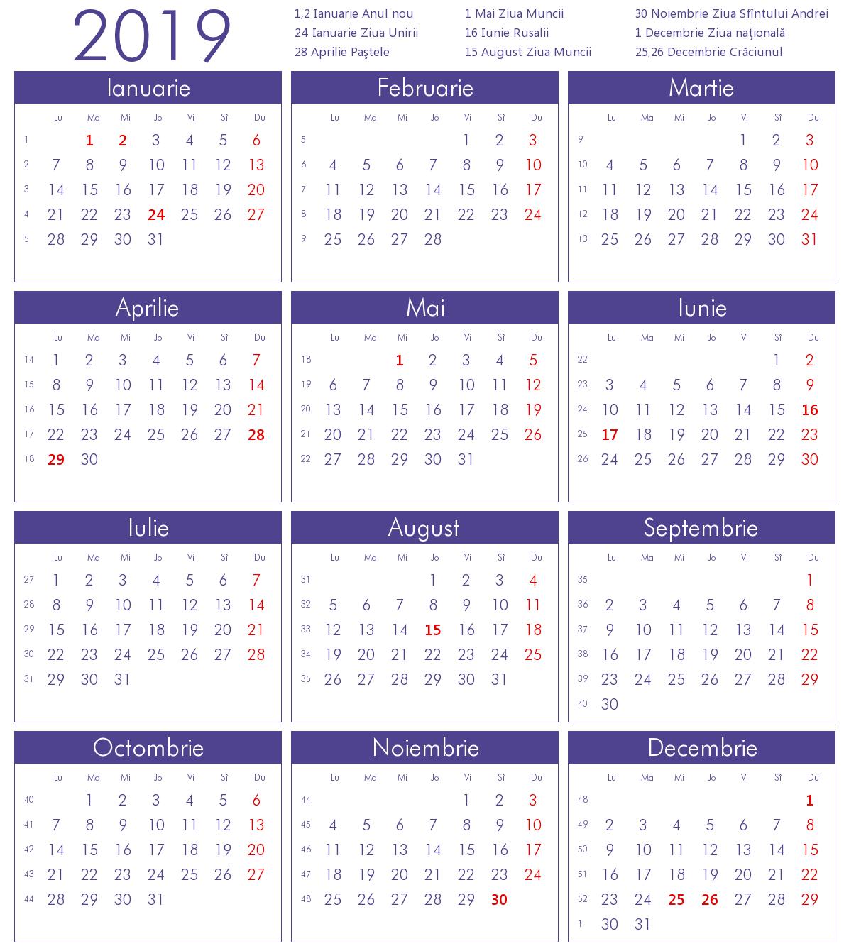 Calendar 2019 Limba Romana Sarbatori Legale At Calendarul Lunar – Bgadv Calendar 2019 Romana