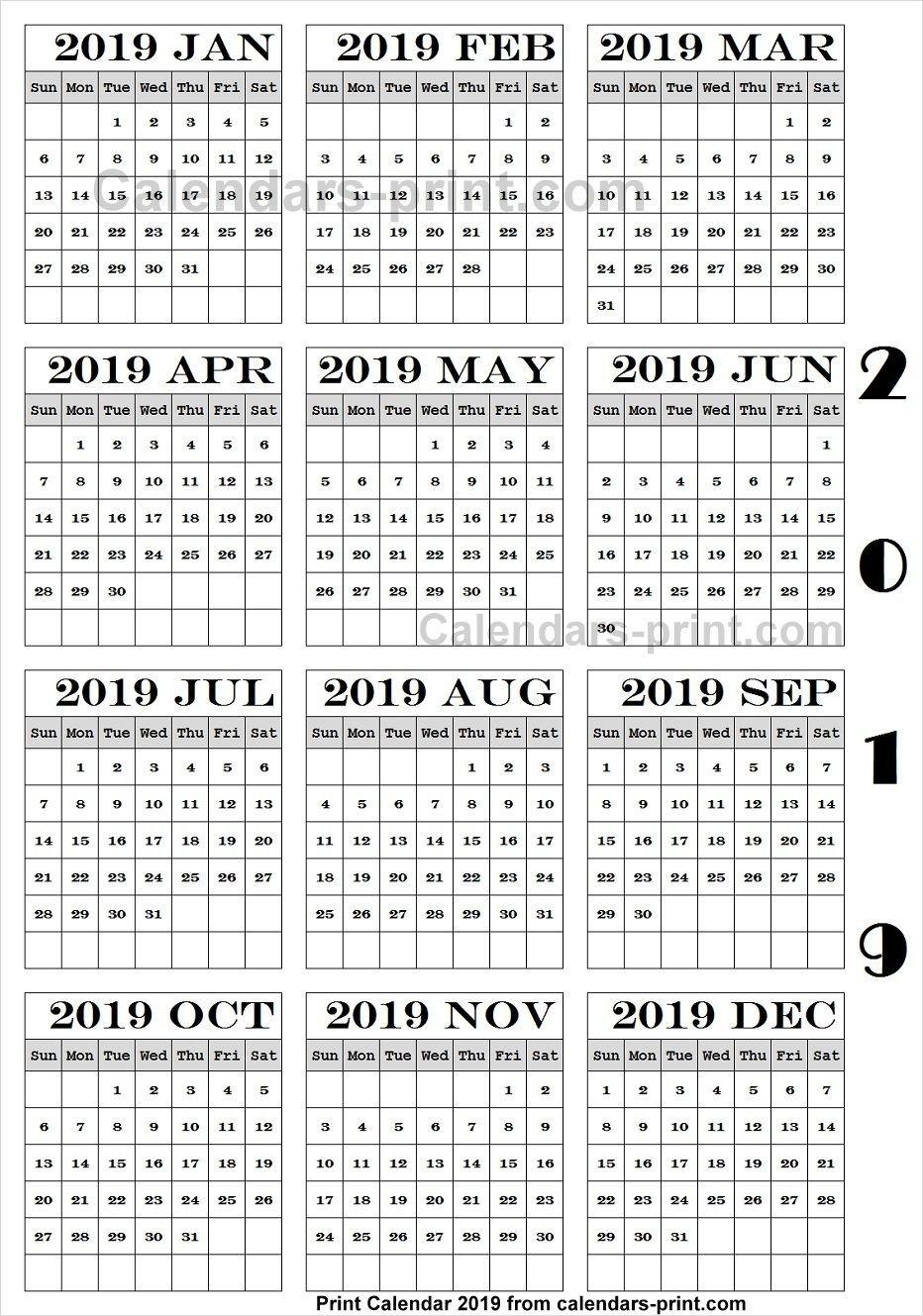 Calendar 2019 Pdf Download   2019 Yearly Calendar   Print Calendar Calendar 2019 Romana