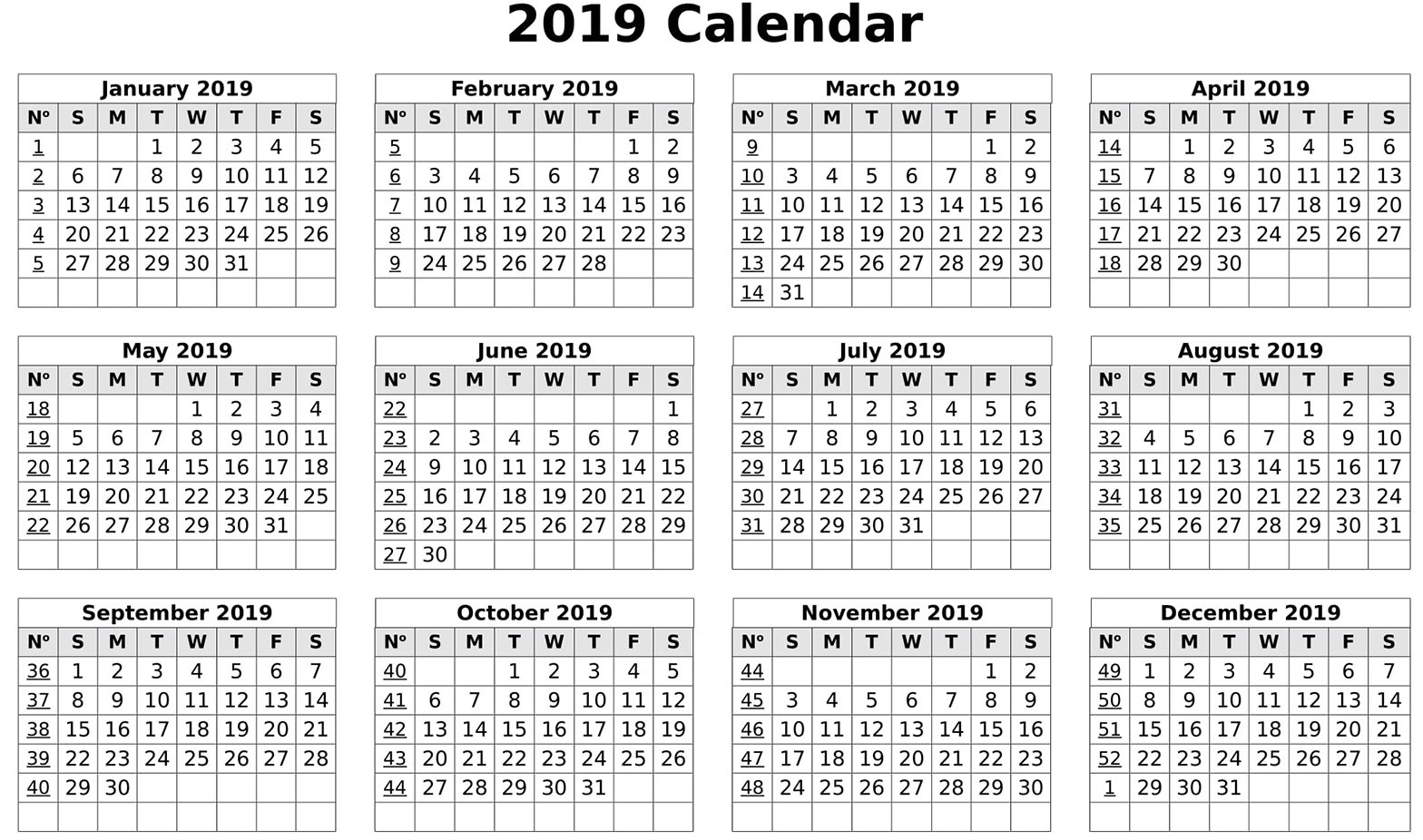 Calendar 2019 Print Out | Free Printable 2019 Calendar Template Word Calendar 2019 Excel With Week Numbers