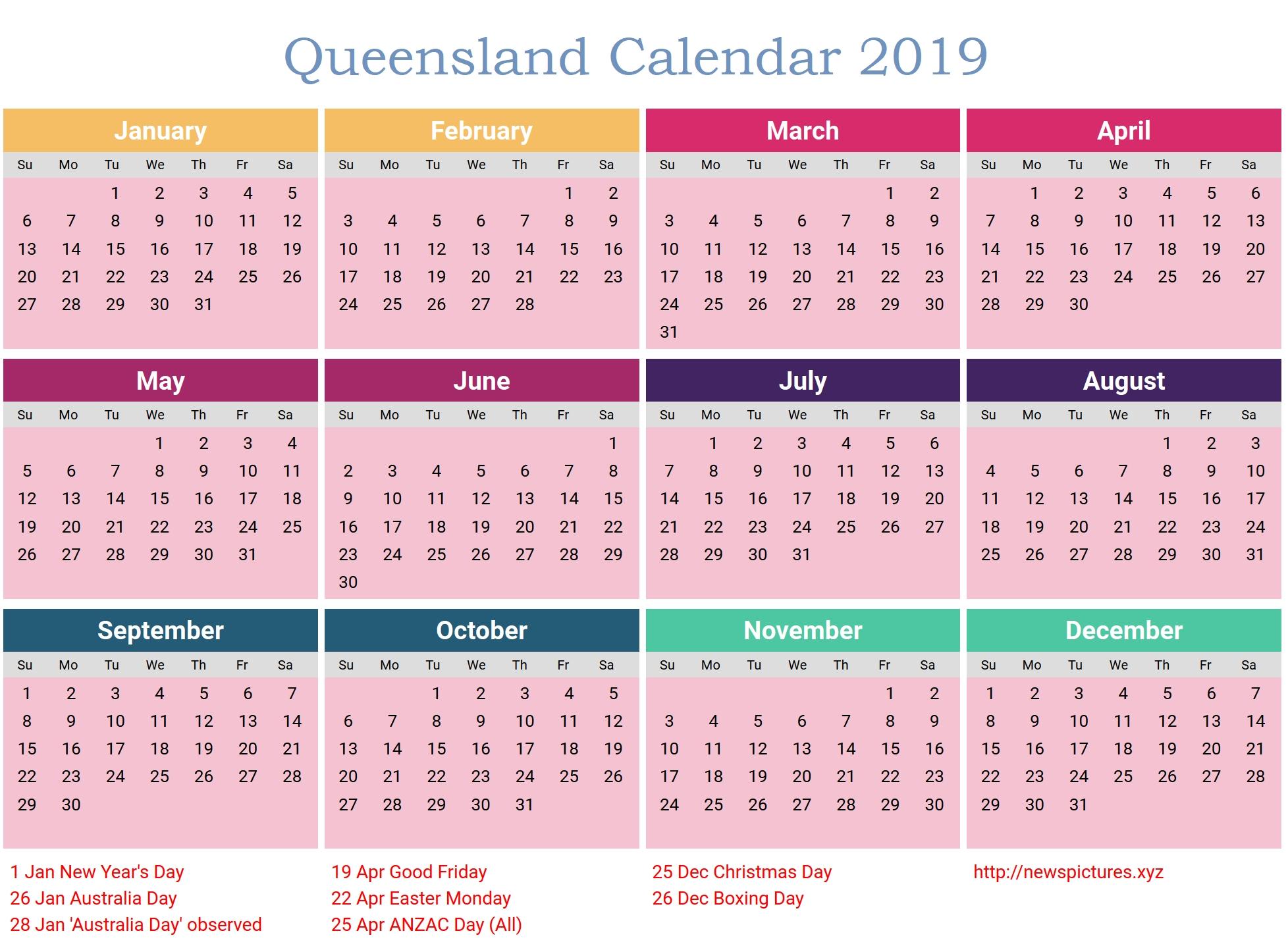 Calendar 2019 Printable With Holidays Qld • Printable Blank Calendar 2019 Calendar Qld Holidays