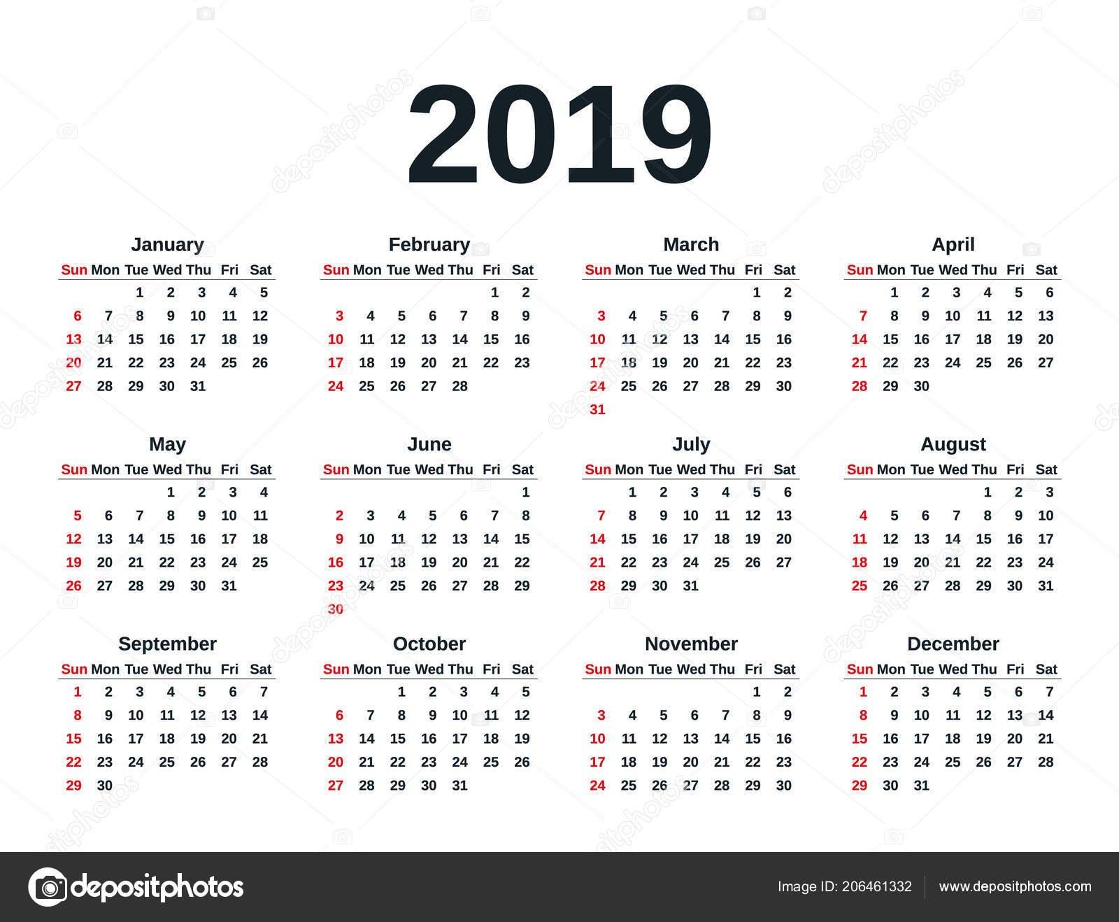 Calendar 2019 Simple Style Week Starts Sunday Vector Stationery 2019 Calendar 2019 Weeks
