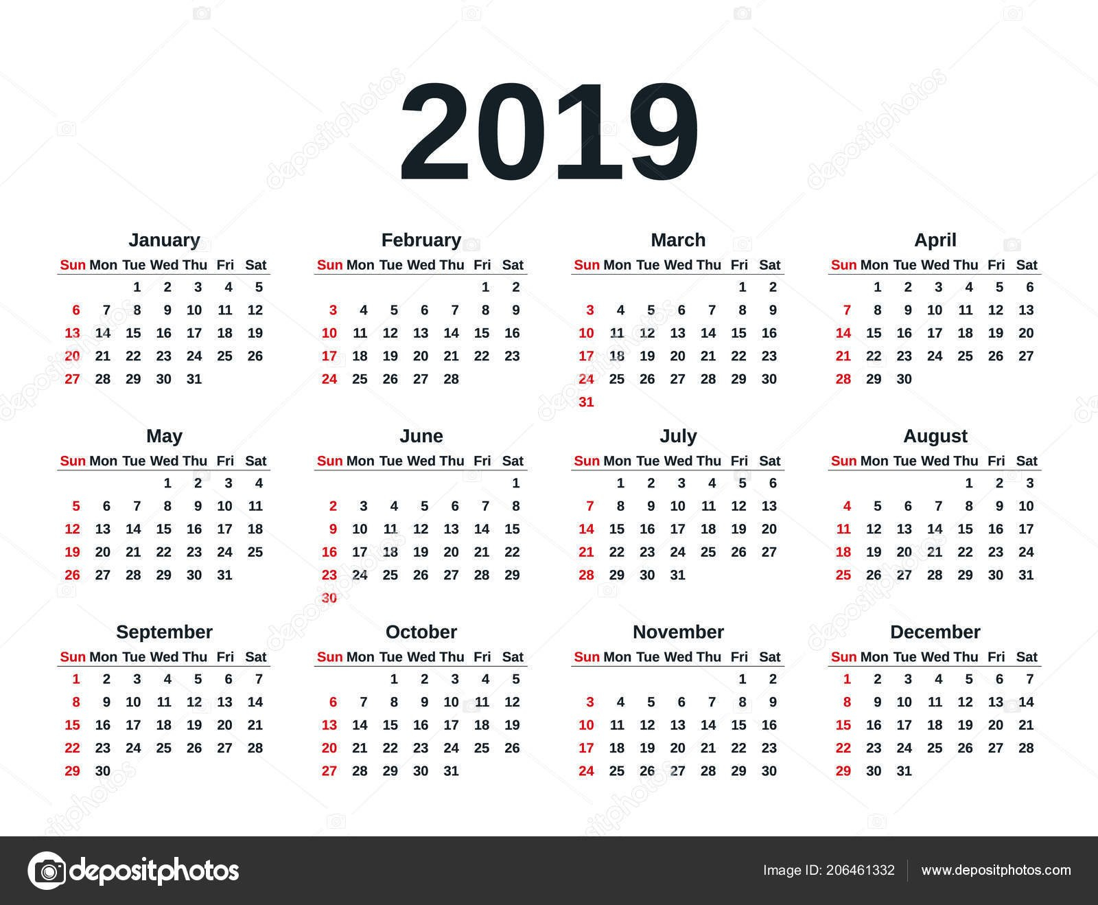 Calendar 2019 Simple Style Week Starts Sunday Vector Stationery 2019 Calendar Week 11 2019