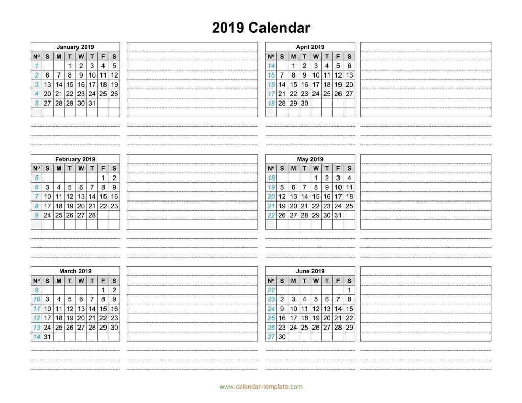 Calendar 2019 Template Six Months Per Page 2019 Calendar 6 Months Per Page