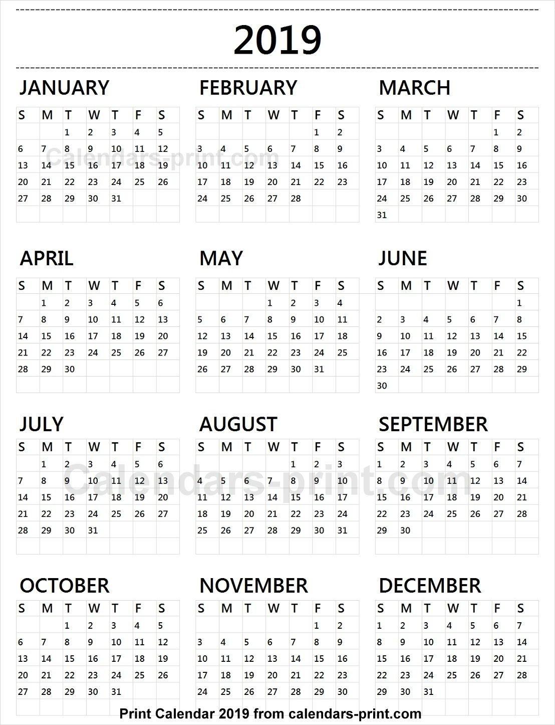 Calendar 2019 Tumblr | 2019 Yearly Calendar In 2019 | Free Calendar Calendar 2019 Free Template