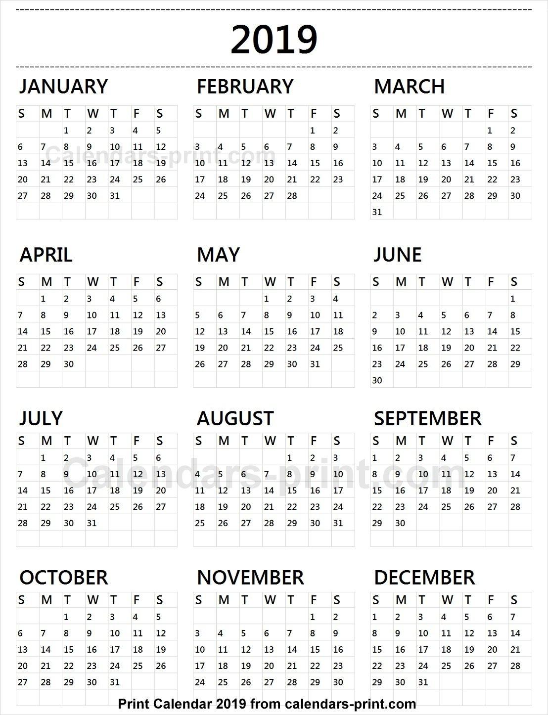 Calendar 2019 Tumblr To Print Free   Download Blank Pdf Template Calendar 2019 Pdf Free Download