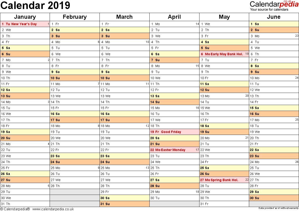 Calendar 2019 (Uk) – 16 Free Printable Pdf Templates Calendar 2019 Planner