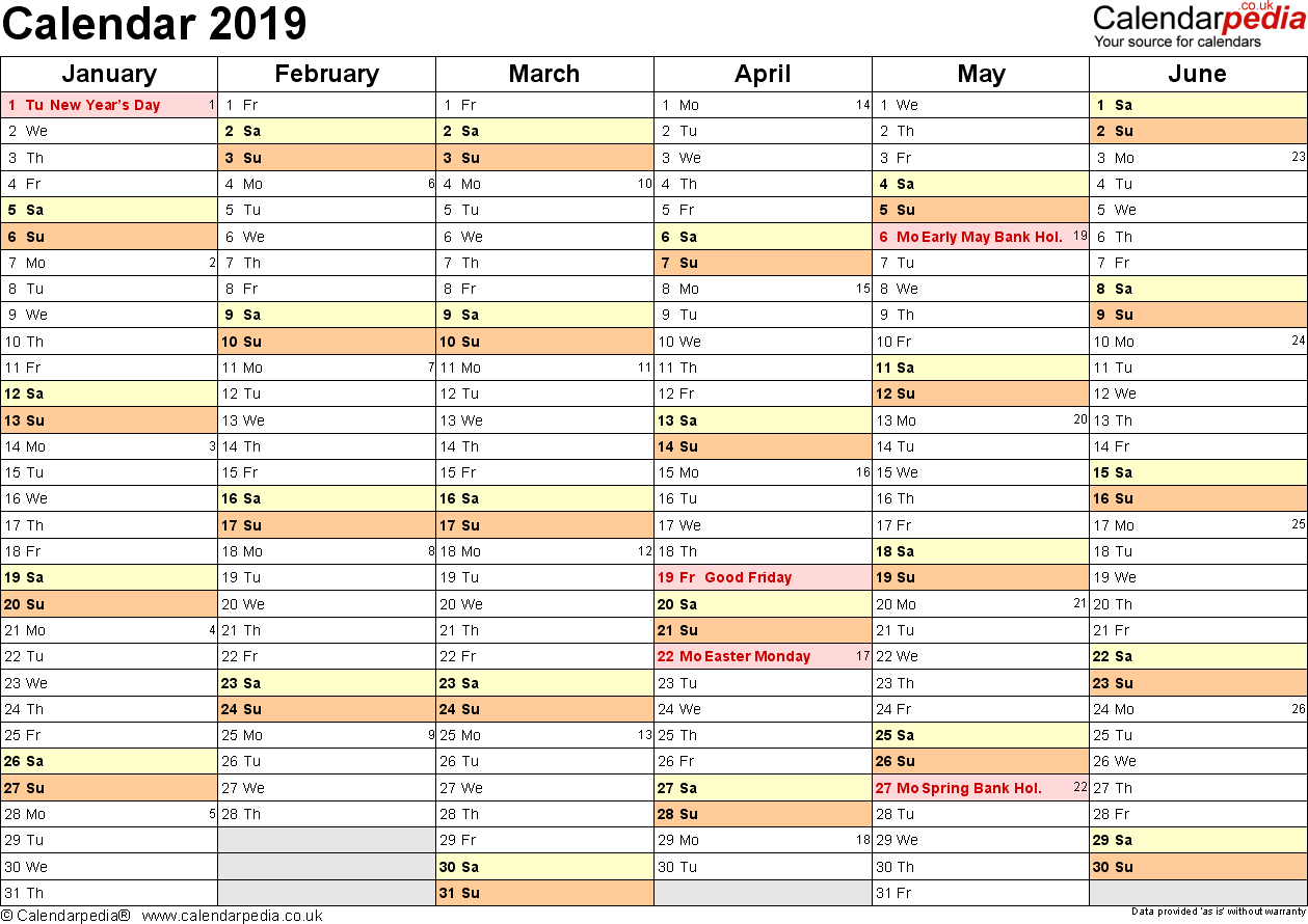Calendar 2019 (Uk) – 16 Free Printable Word Templates Calendar 2019 Write In
