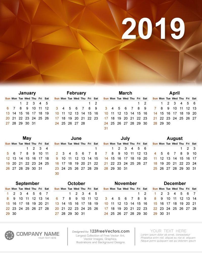 Calendar 2019 Vector | 2019 Calendar | Calendar 2019 Vector Calendar 2019 Vector Image