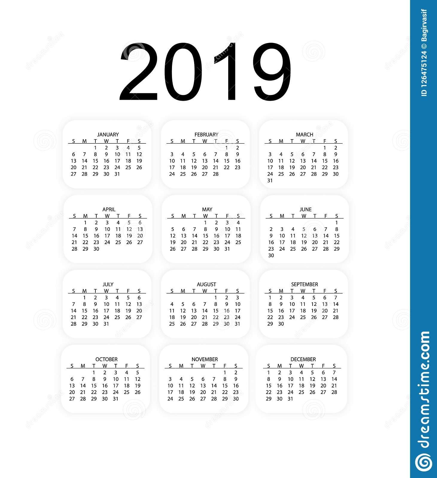Calendar 2019, Week Starts From Sunday, 2019 Calendar Vector Calendar 2019 For Business
