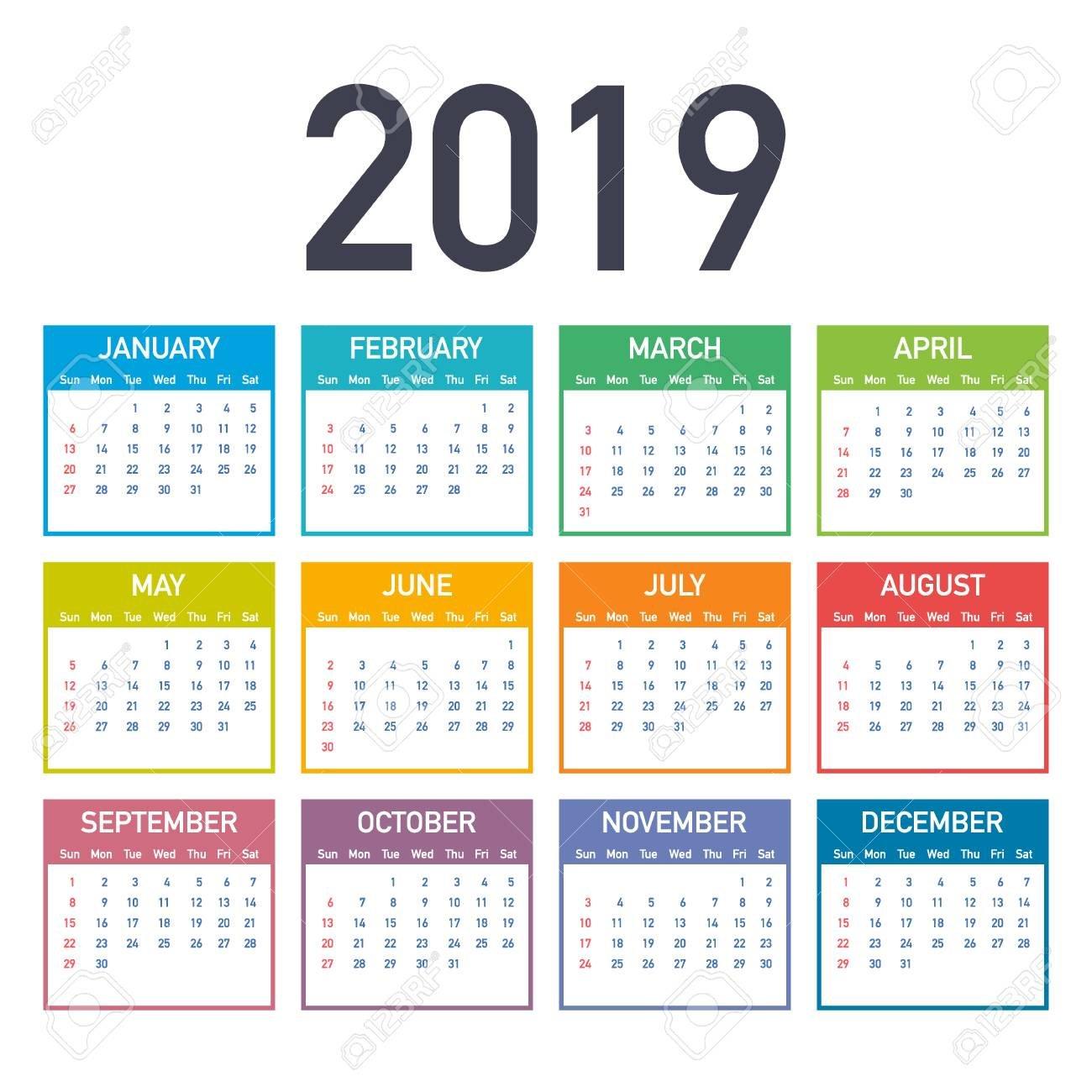 Calendar 2019, Week Starts From Sunday, Business Template. Editable Calendar 2019 For Business