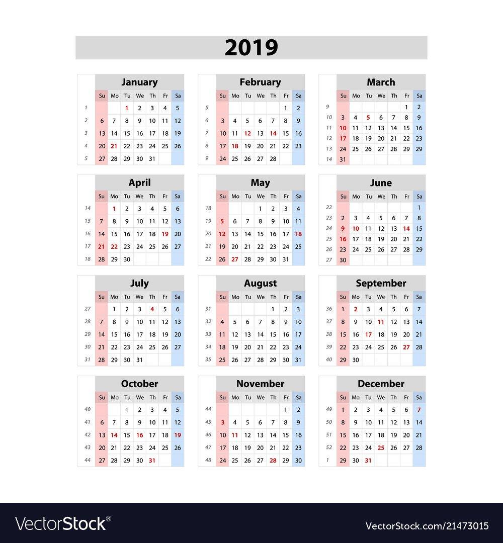 Calendar 2019 Week Starts From Sunday Business Vector Image Week 6 Calendar 2019