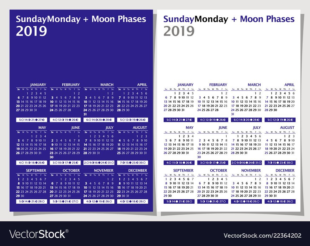 Calendar 2019 Week Starts From Sunday Moon Phase Vector Image Calendar 2019 With Moon Phases