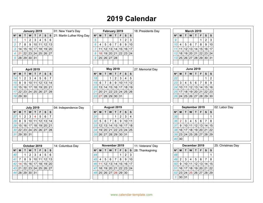Calendar 2019 With Months In Columns 5 Column Calendar 2019
