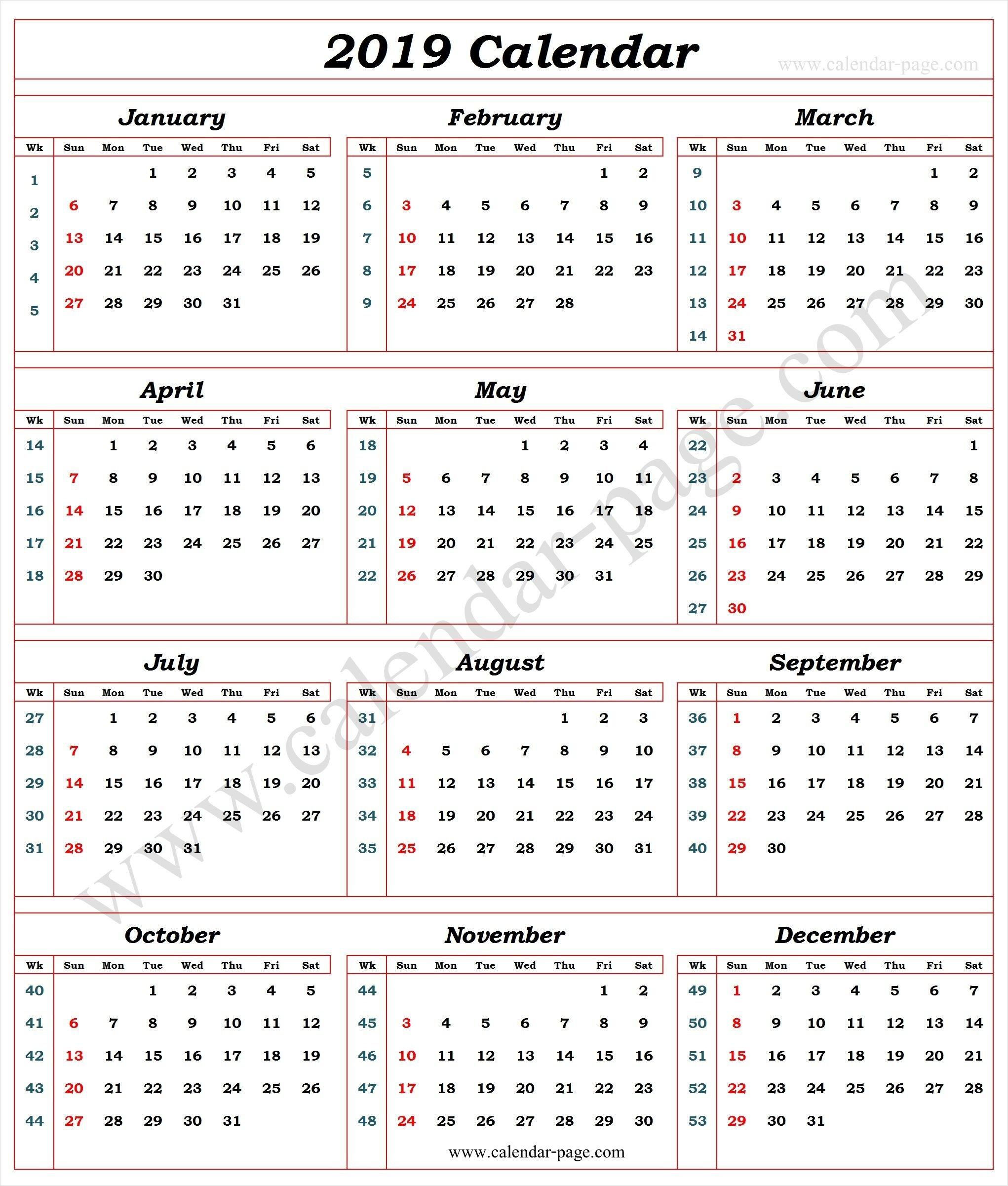 Calendar 2019 With Week Numbers | 2019 Calendar Template | Calendar Calendar 2019 Week 1