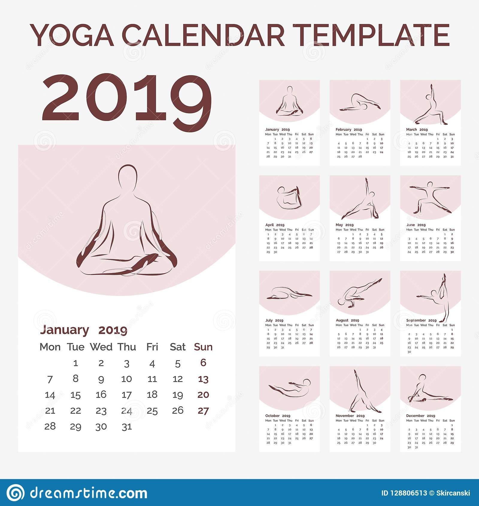 Calendar 2019 With Yoga Poses Vector Illustration Stock Vector Calendar 2019 Yoga