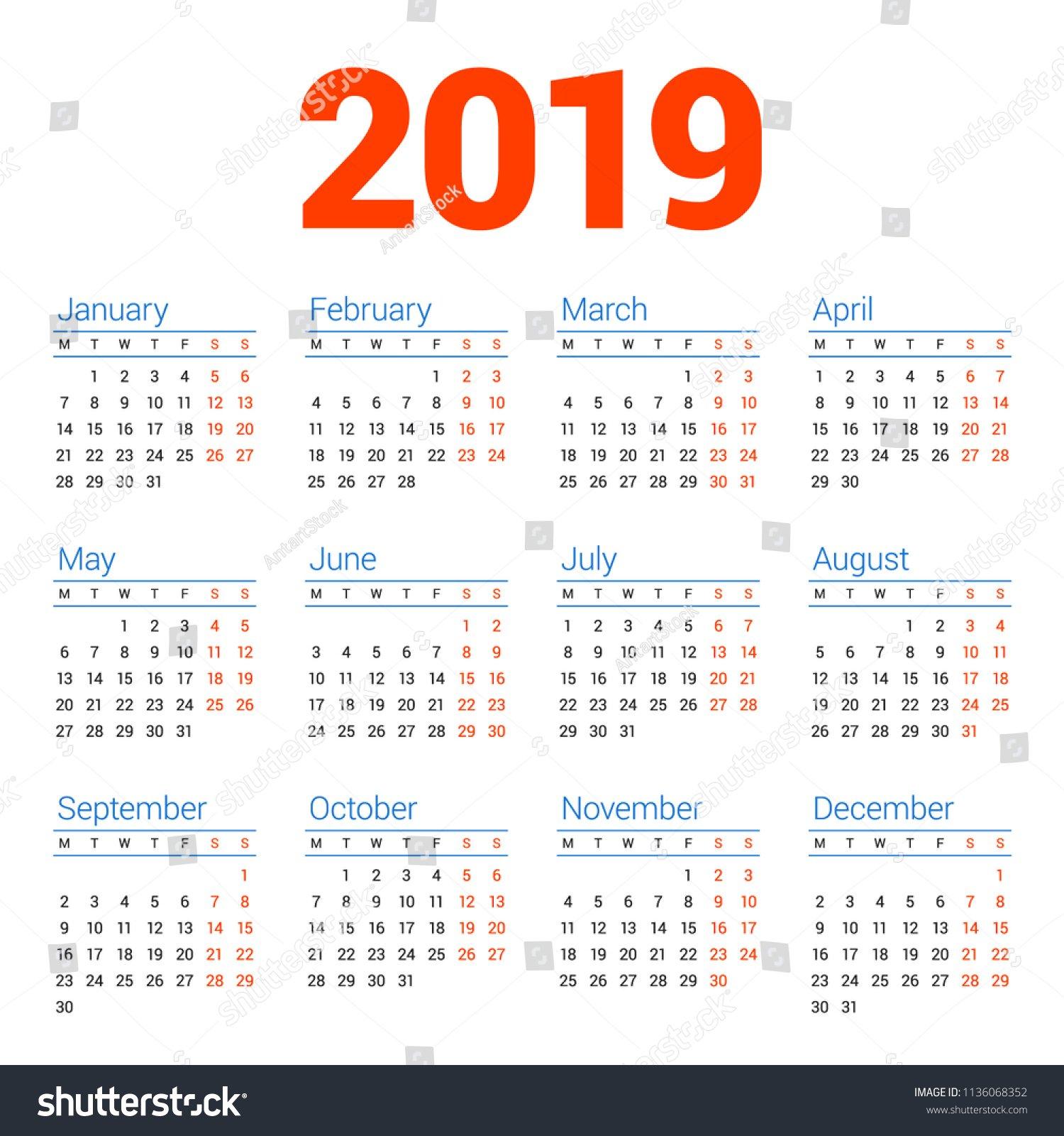 Calendar 2019 Year On White Background Stock Vector (Royalty Free Calendar Week 3 2019