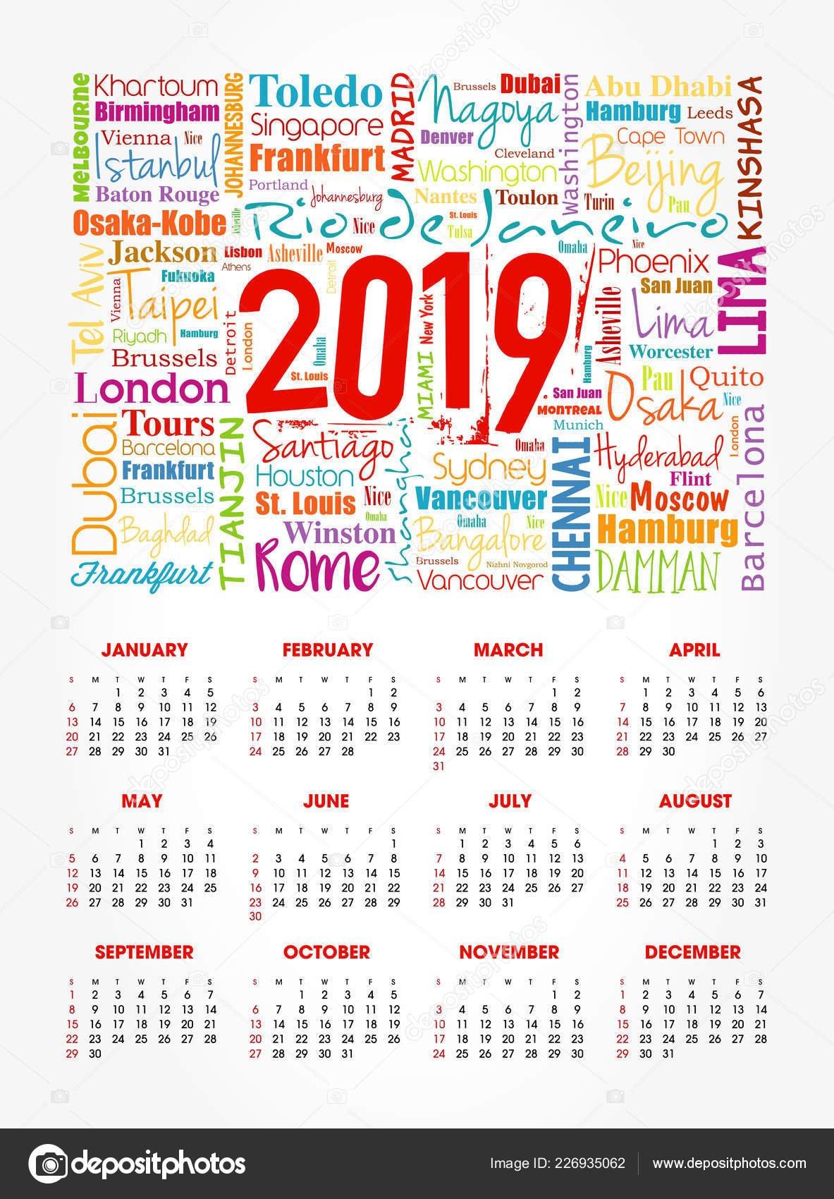 Calendar 2019 Year Travel Cities Word Cloud Collage Trip Calendar 2019 Travel