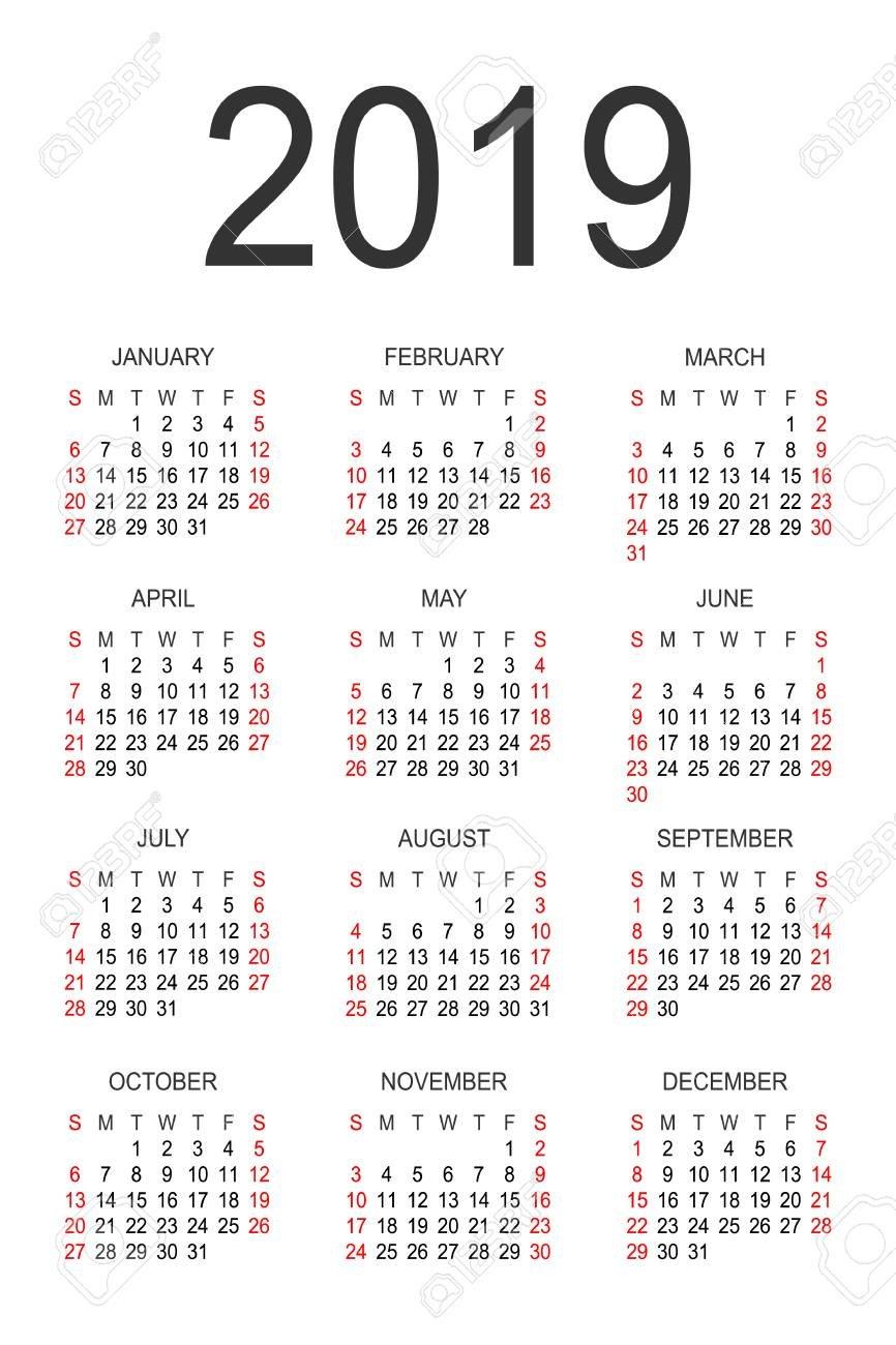 Calendar 2019 Year Vector Design Template. Simple 2019 Year Calendar Calendar 2019 Full Year