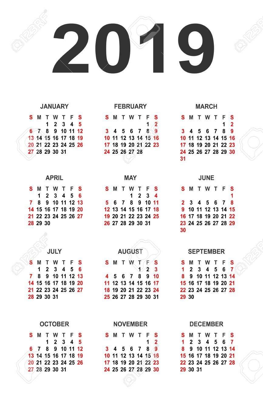 Calendar 2019 Year Vector Design Template. Simple 2019 Year Calendar Calendar 2019 Vector Image