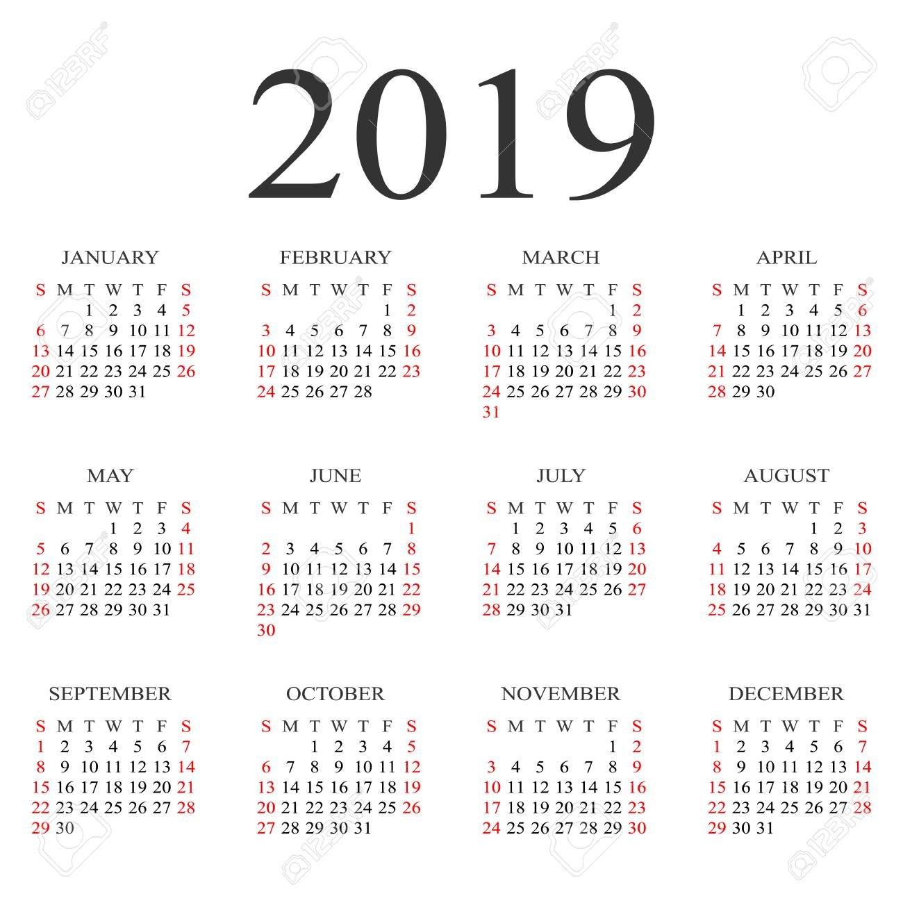 Calendar 2019 Year Vector Design Template. Simple 2019 Year Calendar Calendar 2019 Vector