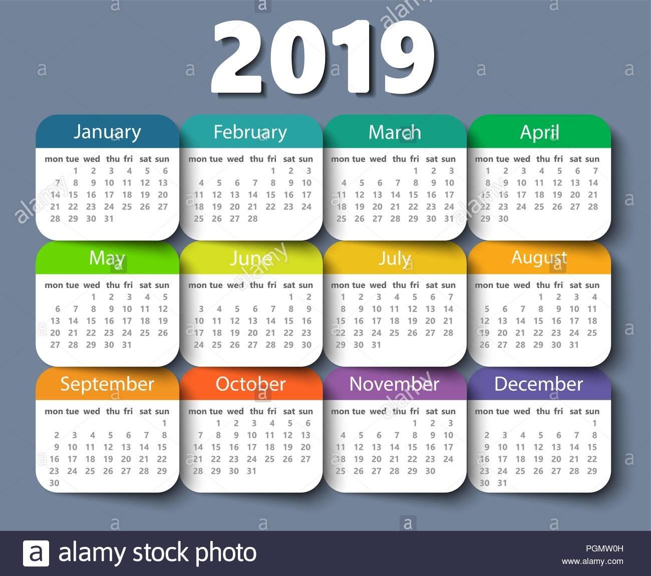 Calendar 2019 Year Vector Design Template. Week Starting On Monday Design A Calendar 2019