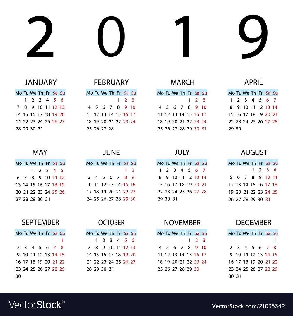 Calendar 2019 Year Week Starts With Monday Vector Image Calendar Week 30 2019