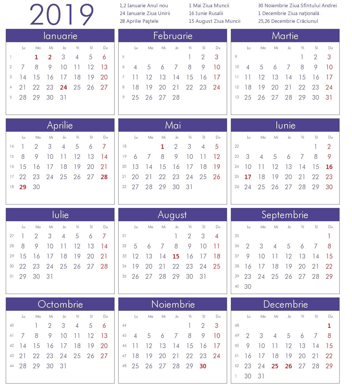 Calendar 2019 Zile Libere Excel • Quarterly Calendar Template Calendar 2019 Zile Libere